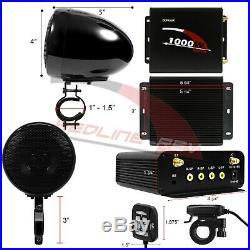 1000W Amp Waterproof Bluetooth Motorcycle ATV Stereo 4-CH Speakers Audio System