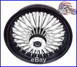 16 x 3.5 48 Fat King Spoke Front Wheel Black Rim Dual Disc Harley Touring Bagger