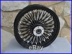 16x3.5 BLACK FAT SPOKE REAR WHEEL HARLEY FLT TOURING BAGGERS 2000-07 FL, FX SOF