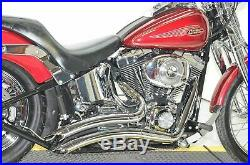 2 1/4 Big Radius Chrome Exhaust Drag Pipes Heat Shields Baffles Harley Softail