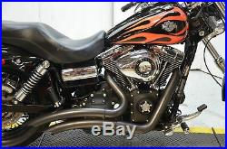 2 1/4 Black Big Radius Radius Curves Full Exhaust Drag Pipe System Harley Dyna