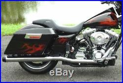 2 Inlet Rinehart Chrome 3.5 Slip-On Black Tip Mufflers Exhaust Harley Touring