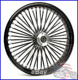 21 x 3.5 48 Fat King Spoke Front Wheel Black Rim Harley Touring Bagger 1984-2007
