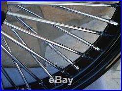 21x3.5 Black Fat Spoke Dual Disc Front Wheel Harley Flt Touring Baggers 2000-07