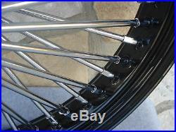 21x3.5 Black S/d 48 Fat King Spoke Front Wheel Harley Touring, Fxst 2000-07