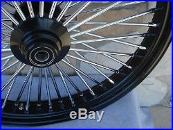 26 X 3.5 Black 48 Fat King Spoke Front Wheel For Harley Custom 1 Bearing