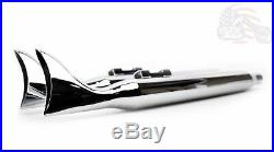 36 Chrome Fishtail Exhaust Slip On Mufflers 95-16 Harley Touring Bagger Dresser