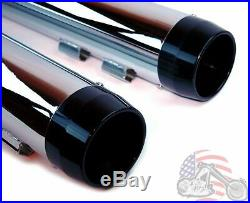 4.5 Chrome Slip-on Mufflers Black Tapered Tip Exhaust Pipes Harley Touring 95-16