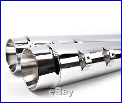 4 Chrome Megaphone Slip-On Mufflers Exhaust Pipes 1995-2016 Harley Touring