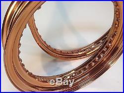 40 spoke Rims 21 x 2.15, 16 x 3 copper powder coat. Harley, Bobber, Chopper