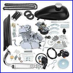 80cc 2-Stroke Cycle Bike Engine Motor Petrol Gas Kit for Motorized Bicycle Silve