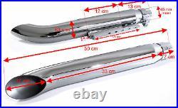 Auspuff Endtopf Schalldämpfer Chrom Turn Out für Harley Davidson Bobber 45 mm