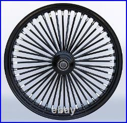Black 48 King Spoke 21 x 2.15 Single Disc Front Wheel Harley Softail Chopper
