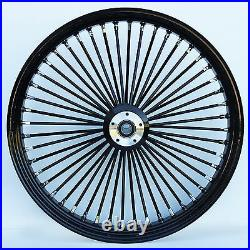 Black 48 King Spoke 21 x 2.15 Single Disc Narrow Glide Front Wheel XL Dyna FXR