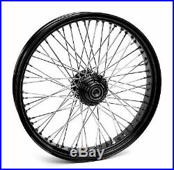Black 60 Spoke Billet 21 x 3.5 Single Disc Front Wheel Harley & Custom Models