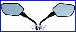 Black Angular Head Motorcycle Mirrors-Honda Shadow Magna Ace Aero VT VTX CB