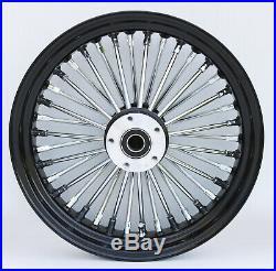 Black & Chrome 38 King Spoke 16 x 3.5 Rear Wheel Harley Softail Bagger Custom