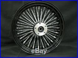 Black/Chrome 48 King Spoke 16 x 3.5 Front Dual Disc Wheel Harley Bagger Custom
