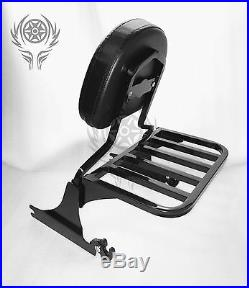 Black Sissy bar backrest with luggage rack for HARLEY BREAKOUT 2013-17 16 15