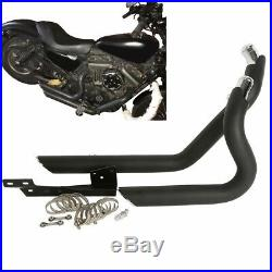 Black Staggered Short shots Exhaust & Heat Shield For Harley Sportster 2004-2013