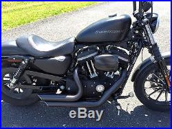 Black Staggered Shortshots Short Shots Exhaust Drag Pipes Harley Sportster XL