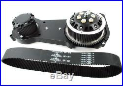 Black Ultima 2 Inch Old School Open Belt Drive Primary Harley Softail Evo TC88