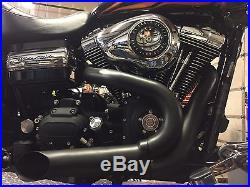 Black Wyatt Gatling 2 into 1 Exhaust Lake Pipe Header Kit Harley Chopper 12mm O2