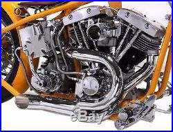 Chrome 2 into 1 Lake Pipes Exhaust Headers 70Up Harley Shovelhead Custom Chopper
