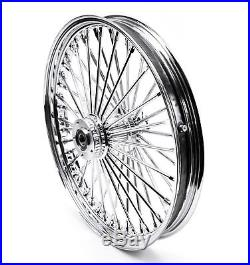 Chrome 48 King Spoke Fat 21 2.15 Front Wheel Dual Disc Harley Touring & Softail