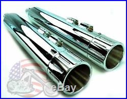 Chrome Milled 4 Slip-on Mufflers Set Exhaust Pipe 95-2016 Harley Touring Bagger