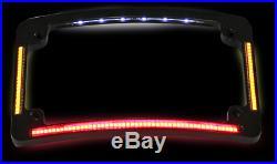 Custom Dynamics black radius license plate frame LED turn signal for Harley