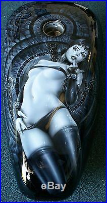 Custom Motorcycle Painting On Your Tins Harley Girl gas tank freehand airbrush