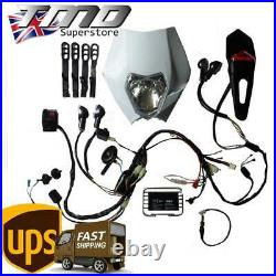 Enduro Motorcycle Complete Light Kit With Indicators Loom Kick Start ONLY