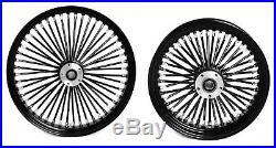 Fat Spoke 21 & 16 Wheel Set Black Harley Electra Glide Road King Street
