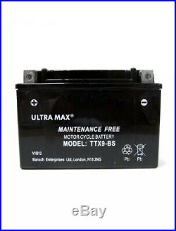 Genuine Ultra Max TTX9-BS, 12V 8AH 90 CCA Motorbike Battery Replaces YTX9-BS