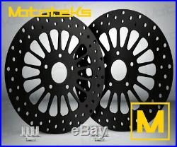 HARLEY BLACK FRONT ROTOR 11.8 SET With BOLTS FOR TOURING BAGGER MODELS 2008 ABOVE