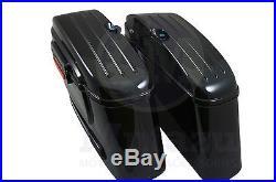 HL Black Out Hard Bag Saddlebags for Honda Suzuki Kawasaki Harley Yamaha Victory