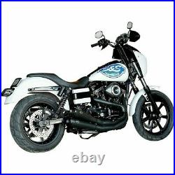 Harley FXD FXR Black S&S Exhaust System Side Dual Mufflers 2 Into 2 GN 550-0742