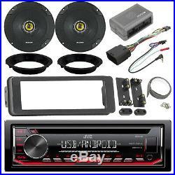 JVC Radio, Kicker 6.5 Speaker Set, Harley 98-2013 Install Adapter Kit