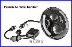 LED Scheinwerfer Abblendlicht Fernlicht Standlicht 7 Zoll für Harley Davidson