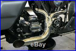 Lake 2 into 1 Turnout Header Exhaust Pipe Harley Softail Dyna Chopper Evo Twin C