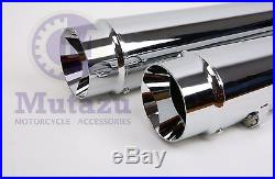 MUTAZU 4 Chrome Megaphone Slip-On Mufflers Exhaust 1995-2016 for Harley Touring