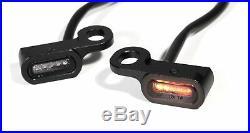 Mini LED Blinker Schwarz Griff Lenkerarmatur für Harley Davidson Softail Slim