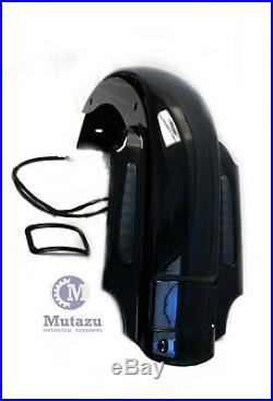 Mutazu CVO 4 Extended Rear Fender w LED & Wire Harness for 93-08 Harley Touring