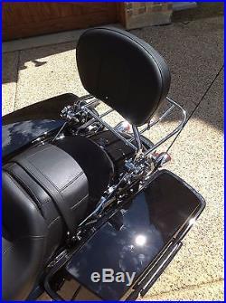 NEW Adjustable Detachable Backrest Sissy Bar Chrome w LOCK Harley Touring 09UP