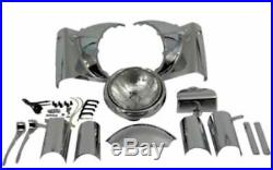 New Complete Chrome Headlight Headlamp Cowl Nacelle Kit Assembly Harley Touring