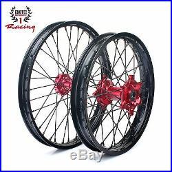 New Wheels Set Red Hubs Honda Cr125 Cr250 Crf250 Crf450 21 & 19 Black Rims