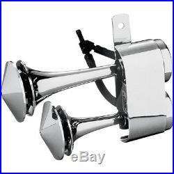 Rivco Chrome 128dB Dual Air Horn for Harley Davidson Softail Touring Dyna XL