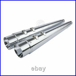 TCMT 4 Chrome Megaphone Slip-On Mufflers Exhaust Pipes For 95-16 Harley Touring