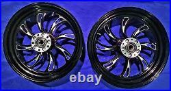 Twisted Vortex Front/rear 16 Black Wheel Set Harley Electra Glide Road King